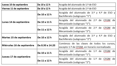 Calendario escalonado